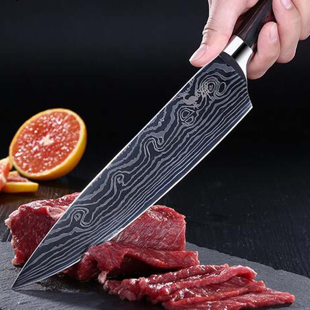 PDING 8 inch Professional Chef Knives Classic Japanese High Carbon Stainless Steel Sharp Chef's Knife Ergonomic Equipment Handle Kitchen Knife Blade Razor (8'', wave) by PDING (Image #5)