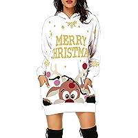 Navidad Jersey Mujer de Manga Larga Largos Cuello Redondo Otoño Vestidos Sudadera Casual Tallas Grandes Suéter Suelta…