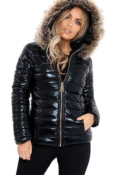 c5b0261e4774 Extras Fashion Ladies Womens Wet Look Puffer Bubble Coat Winter Shiny PU Fur  Hooded Jacket Coat Size S M L XL 2XL