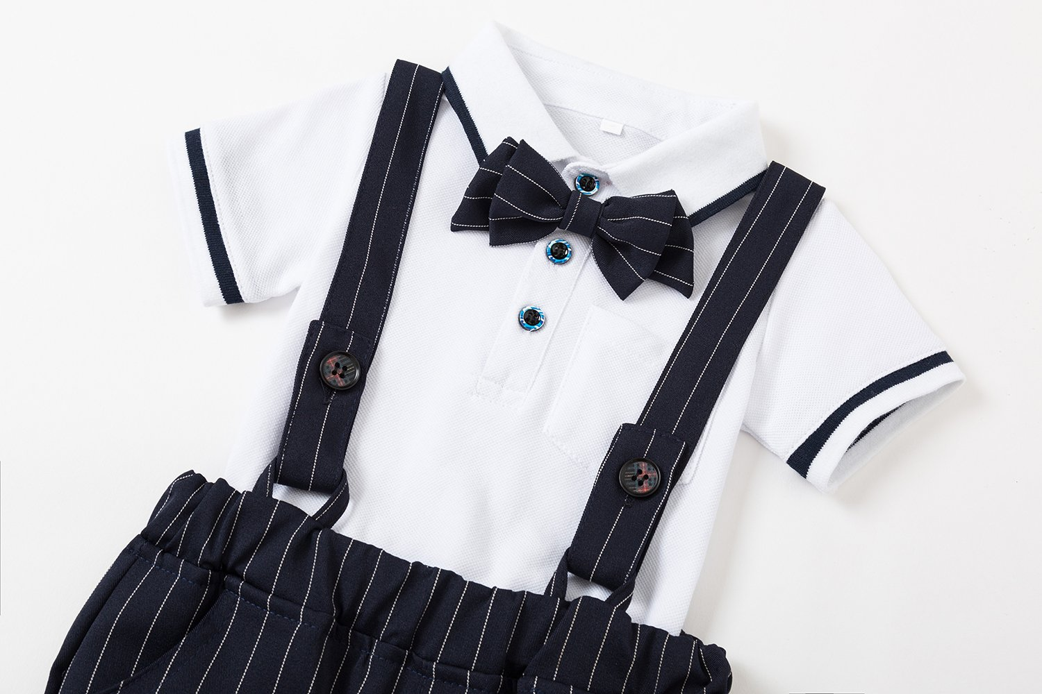 Baby Boys Gentleman Jumpsuit Outfits Suits Bow Tie Overalls Clothes Set (0-6Months, Blue) by Baby Love (Image #3)