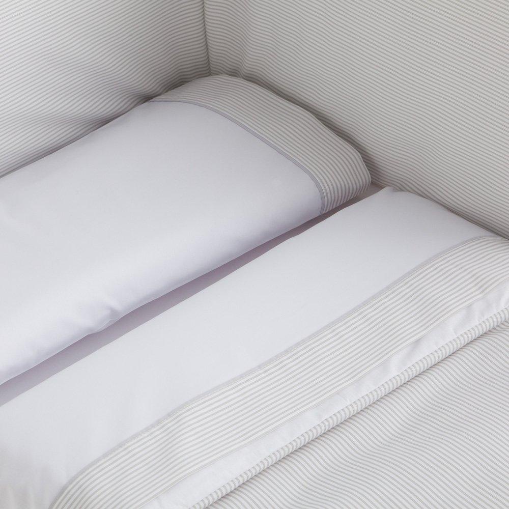 Sabanas 100% Algodón MAXICUNA 70X140 - LISTAS color GRIS (bajera+encimera+funda almohada) mibebestore