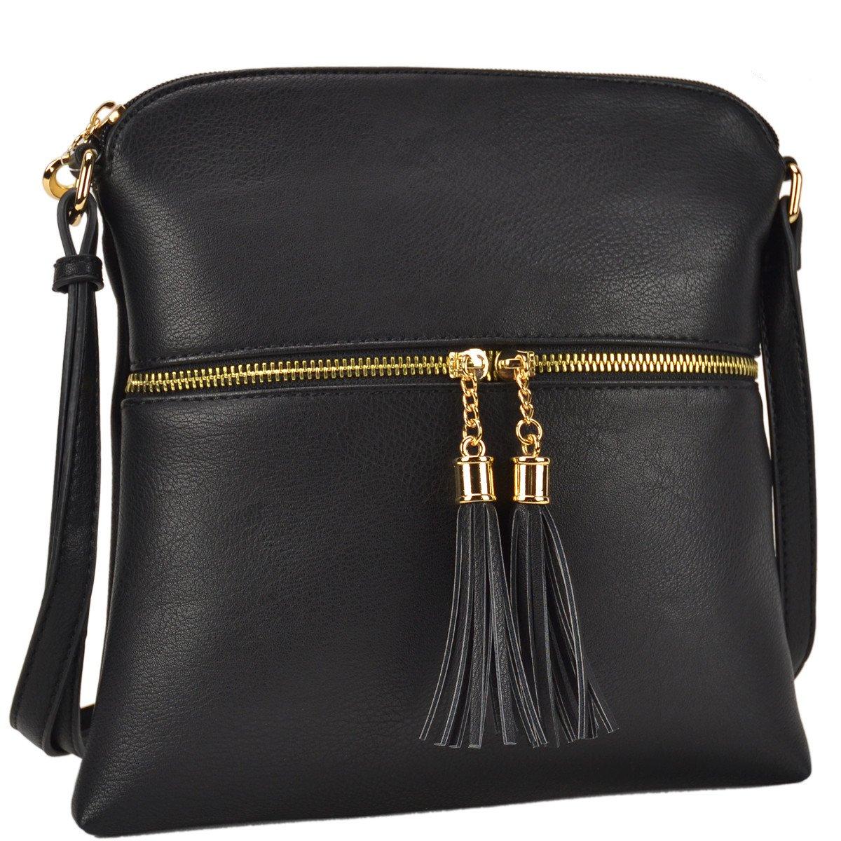 Dasein Lightweight Medium Crossbody Bag Vegan Leather Shoulder Bag Small Travel Purse with Tassel