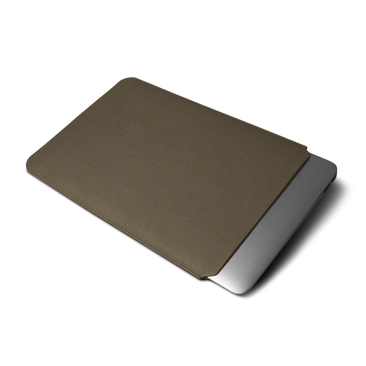 Lucrin - MacBook Air 13-inch case - Dark Taupe - Granulated Leather