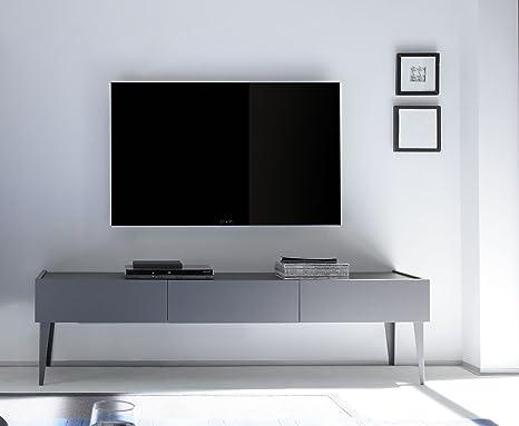 Rex TV Möbel mit Schubladen, Holz, Anthrazit Matt, 184 x 51 ...