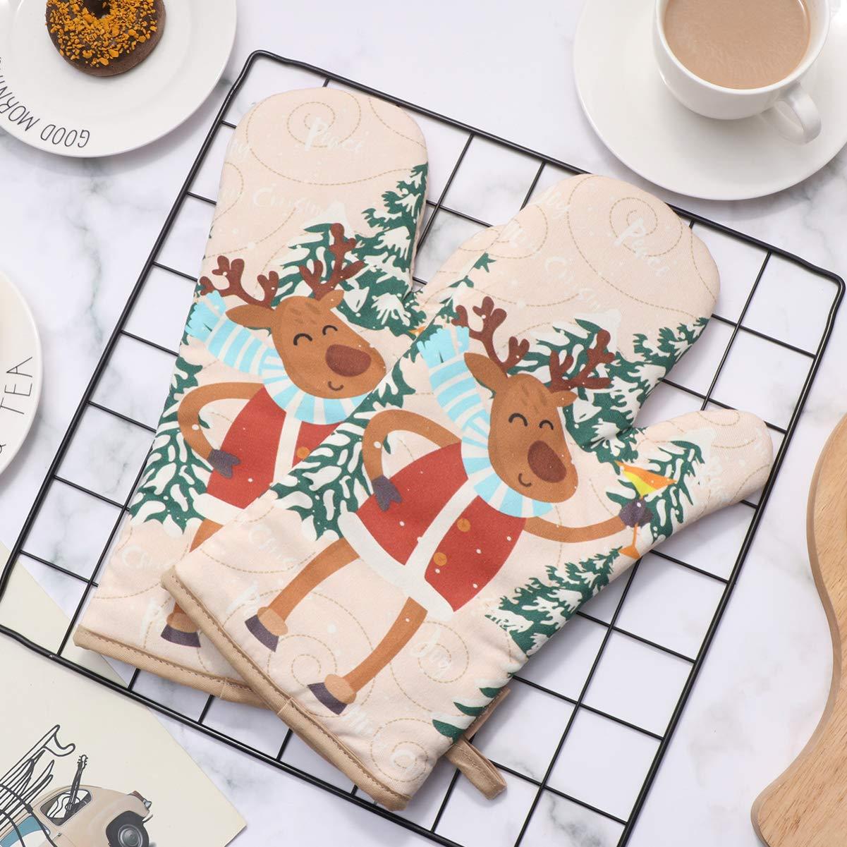 1 Set hitzebest/ändige Ofenhandschuhe und Topflappen mit Weihnachtsmotiven f/ür die K/üche BESTonZON Ofenhandschuh mit Weihnachtsmotiv