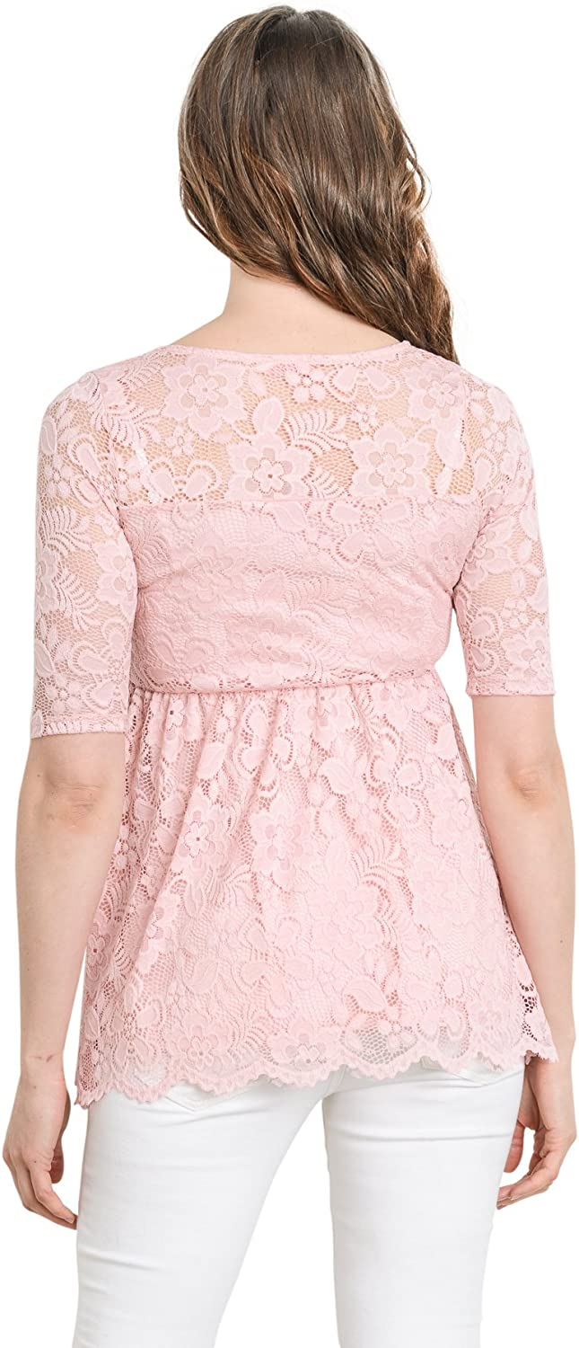 HELLO MIZ Womens Floral Lace Maternity Blouse Top