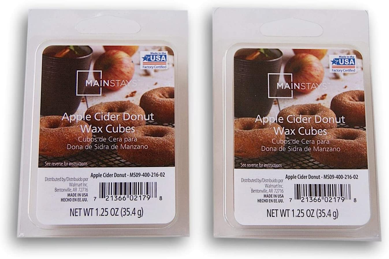 Seasonal Decor Mainstays Autumn Scents Wax Cubes Bundle - 2 Packs of Apple Cider Donut Wax Cubes
