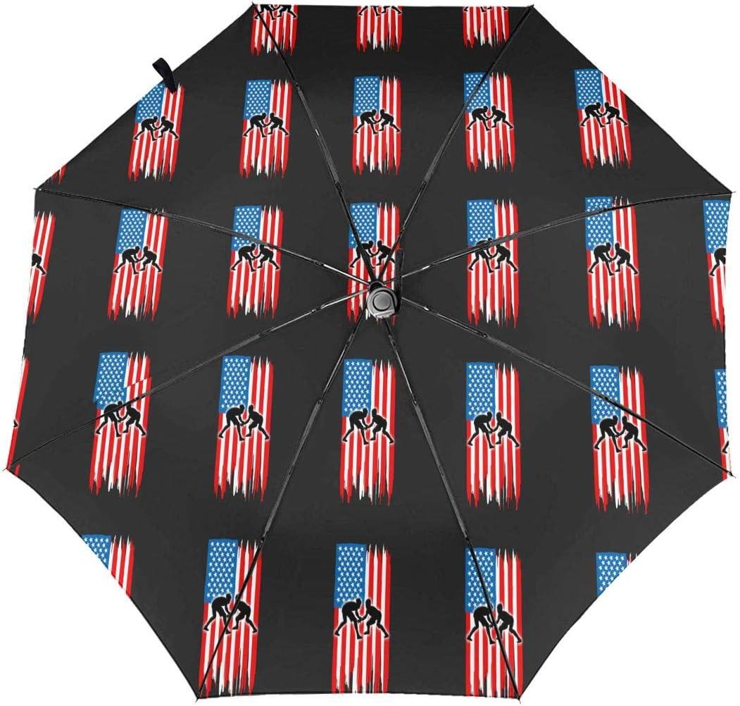 American Flag Wrestling Automatic Tri-Fold Umbrella Parasol Sun Umbrella Sunshade
