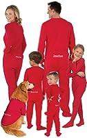 PajamaGram Personalized Onesie Dropseat Matching Family Pajamas, Red