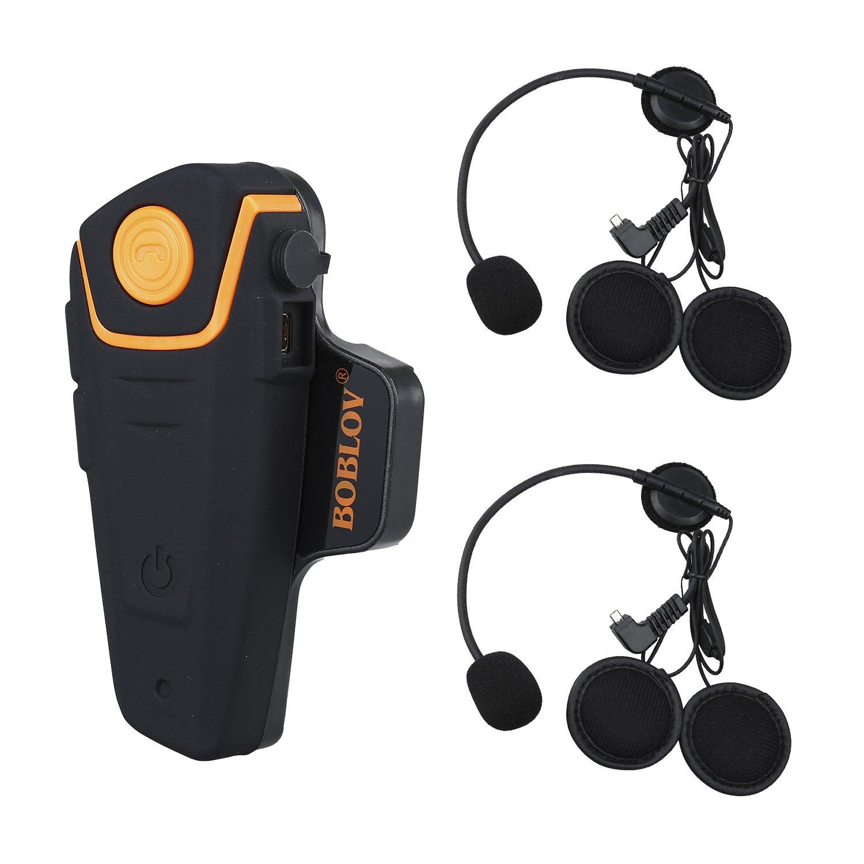 Bobov BT-S2 1000M BT casco de la motocicleta Auricular Bluetooth Intercom Moto Headset Intercom Interphone FM (Pack 2 with 2 sets Earphone)