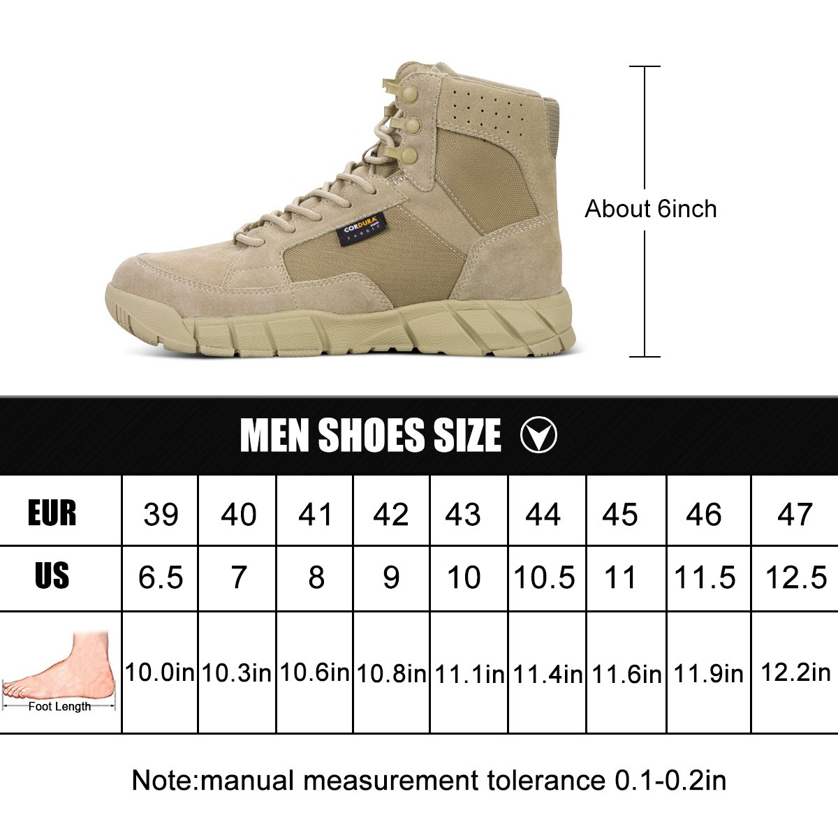 FREE SOLDIER Men's Tactical Boots 6'' inch Lightweight Military Boots for Hiking Work Boots Breathable Desert Boots (Tan, 7) by FREE SOLDIER (Image #7)