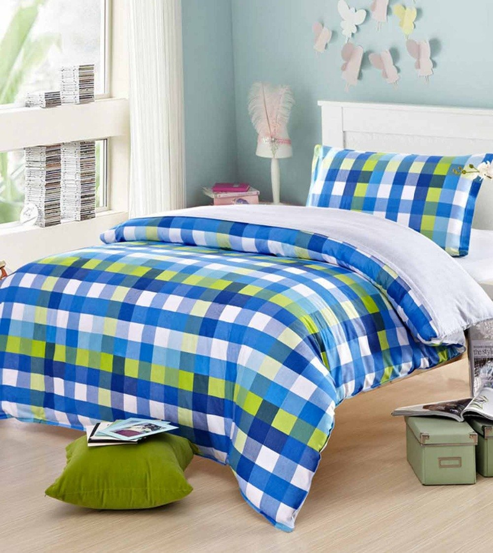 Buy Ahmedabad Cotton Comfort 160 Tc Cotton Single Bedsheet With 1 Pillow Cover Blue White And Yellow Online At Low Prices In India Amazon In