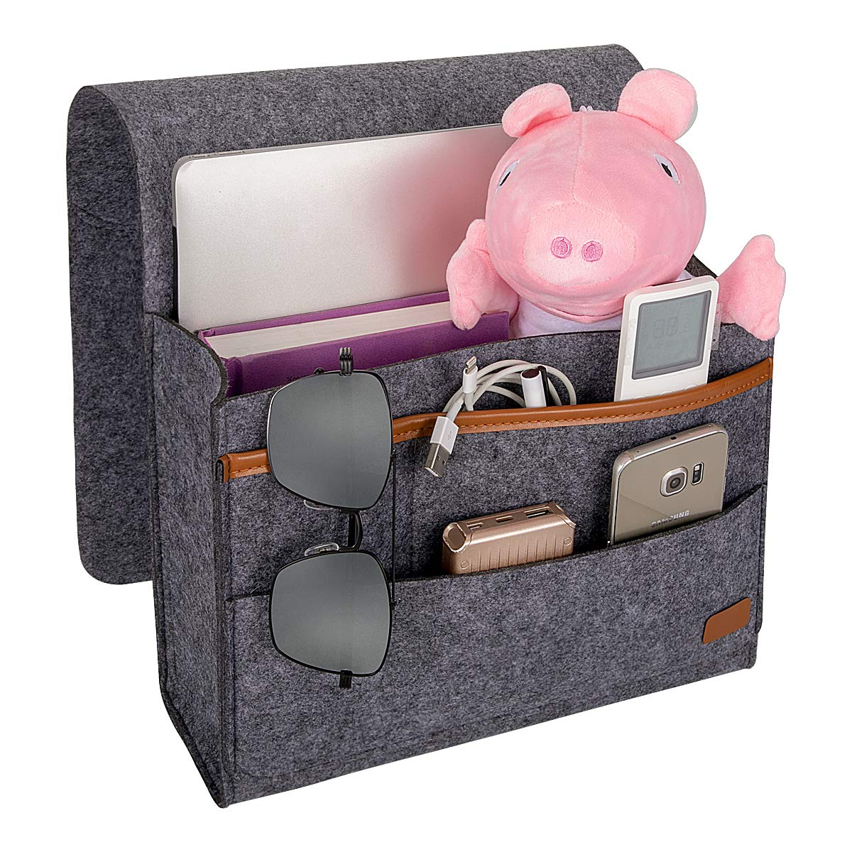 ECZO Bedside Caddy, Bed Caddy Storage Organizer Home Sofa Desk Felt Bedside Pocket with 3 Small Pockets for Organizing Tablet Pad Magazine Books Phone Chargers and More Gadget (Dark Grey
