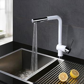 Extremely Homelody® Weiss 360° Drehbar Wasserhahn mit ausziehbar Brause  PZ57