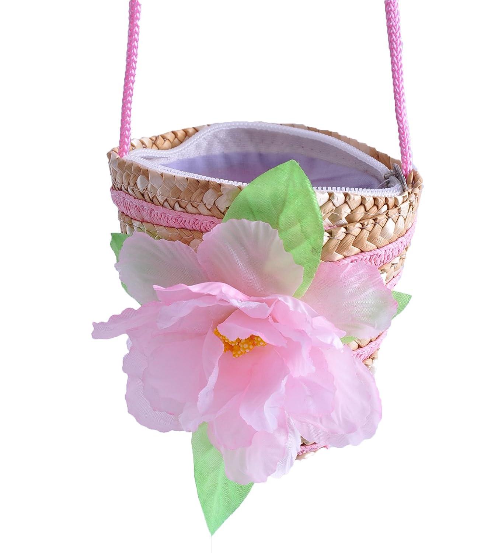 Women Girls Baby Flower Straw Bag Garden Bag Coin Purse Summer Pouch ...