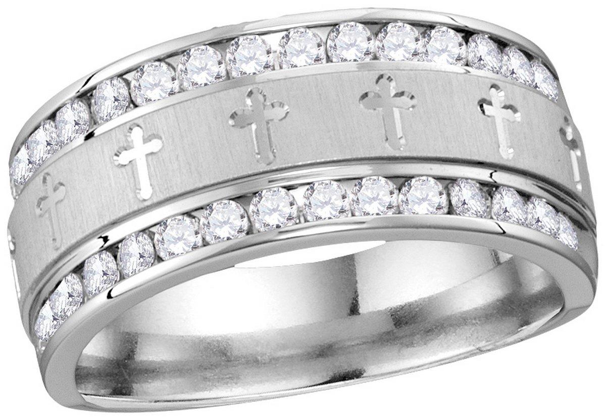 14k White Gold Mens Round Diamond Grecco Christian Cross Wedding Anniversary Band Ring 1.00 Cttw
