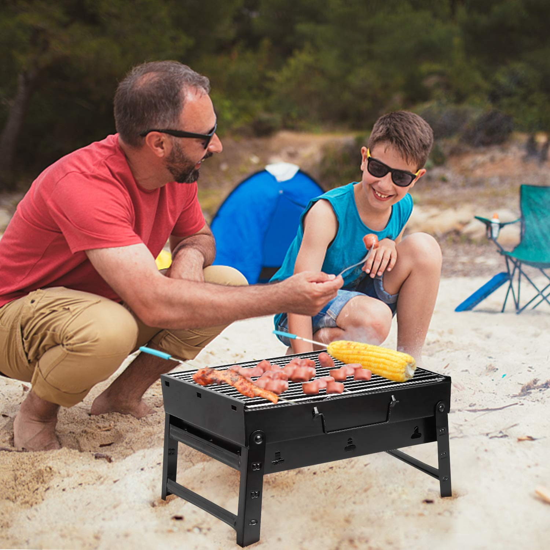 Mbuynow BBQ Barbecue de Table Barbecues de Pique-nique Top Camping En Plein Air Barbecue Charbon en Acier Inoxydable Pliable Four Grille de Cuisson Pour 3-5 Personnes ( 35*27*20cm )