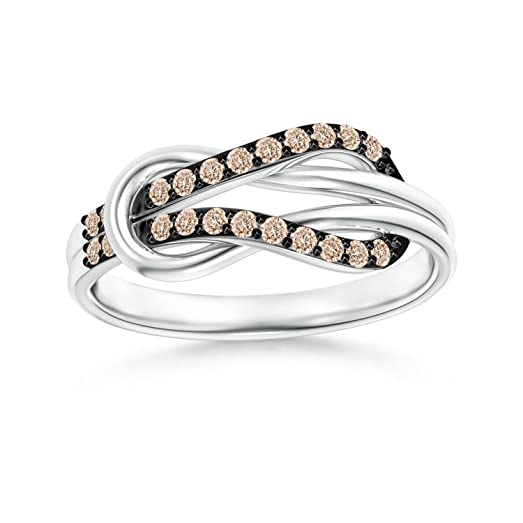 Angara Encrusted Brown Diamond Infinity Love Knot Ring zDezn
