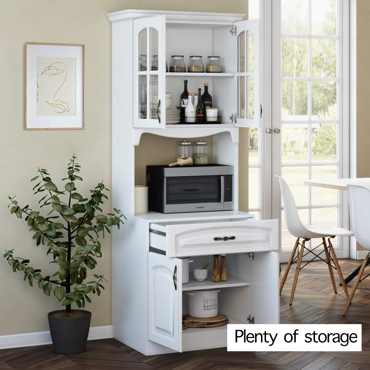 Furniture Pantry Cabinet Kitchen Cabinet With Storage Shelves And Microwave Stand Kitchen Storage Cabinet Easy Installation Kitchen Furniture Kitchen China Cabinet Kitchen And Pantry Hutch Cabinet Home Kitchen