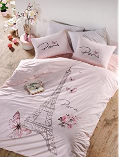 e53c8b2b3c Bekata Paris Bedding Set, 100% Turkish Cotton Paris Eiffel Tower Themed  Quilt/Duvet