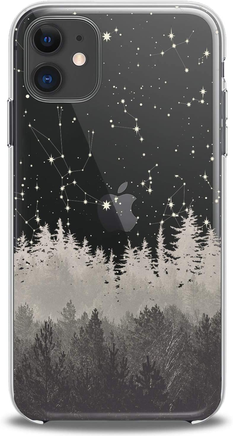 Cavka TPU Cover for Apple iPhone Case 11 Pro Xs Max X 8 Plus Xr 7 SE 2020 Foggy Forest Print Design Gift Clear Slim fit Stars Sky Flexible Silicone Soft Man Lightweight Beautiful Nature Woman Arts