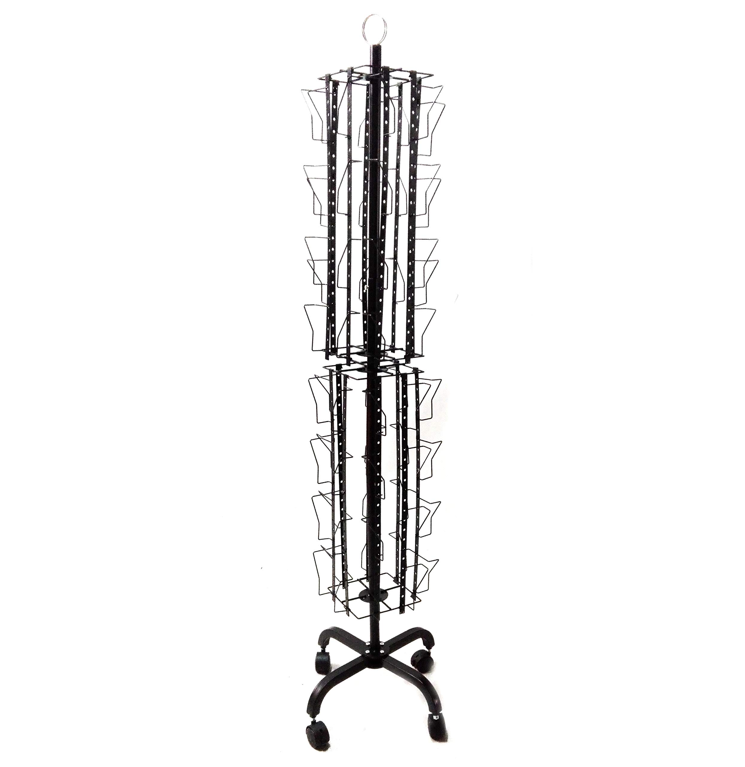 FixtureDisplays Up to 9.8'' Wide 32-Pocket Adjustable Display Rack, Double Tier Greeting Post Card Christmas Holiday Spinning Rack Stand 11603-BLACK by FixtureDisplays