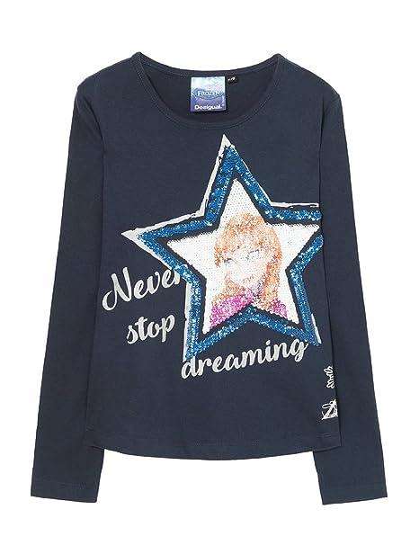 Desigual TS_Sacramento, Camisa Manga Larga para Niñas, (Azul Tinta 5096), 152