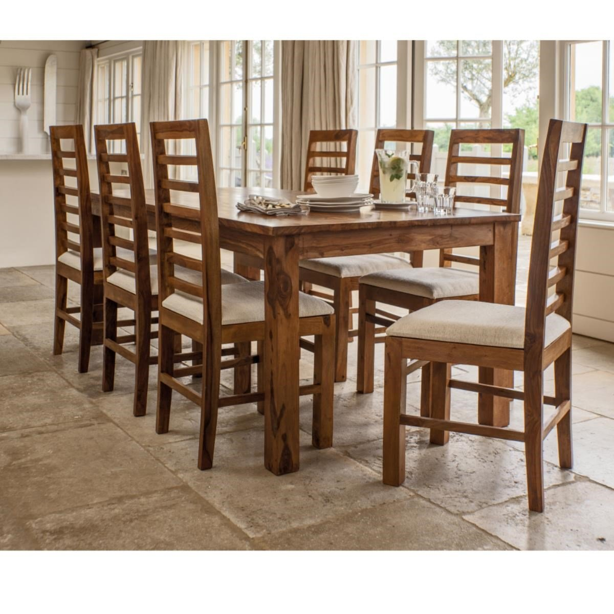 Aprodz Solid Wood Orlando 8 Seater Dining Table Set For Home Dining Furniture Amazon In Home Kitchen