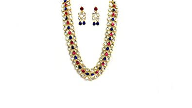 1ed4da6a31630 Buy Shree Mauli Creation Pink and Blue Kundan Metal Necklace Set for ...