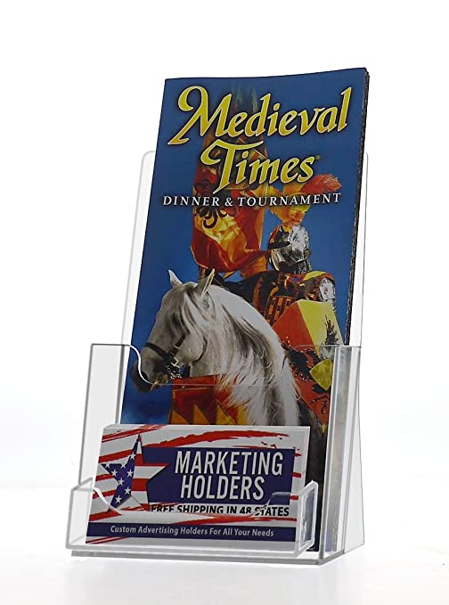 Amazon marketing holders counter trifold brochure holder with marketing holders counter trifold brochure holder with business card pocket clear 10 pack colourmoves
