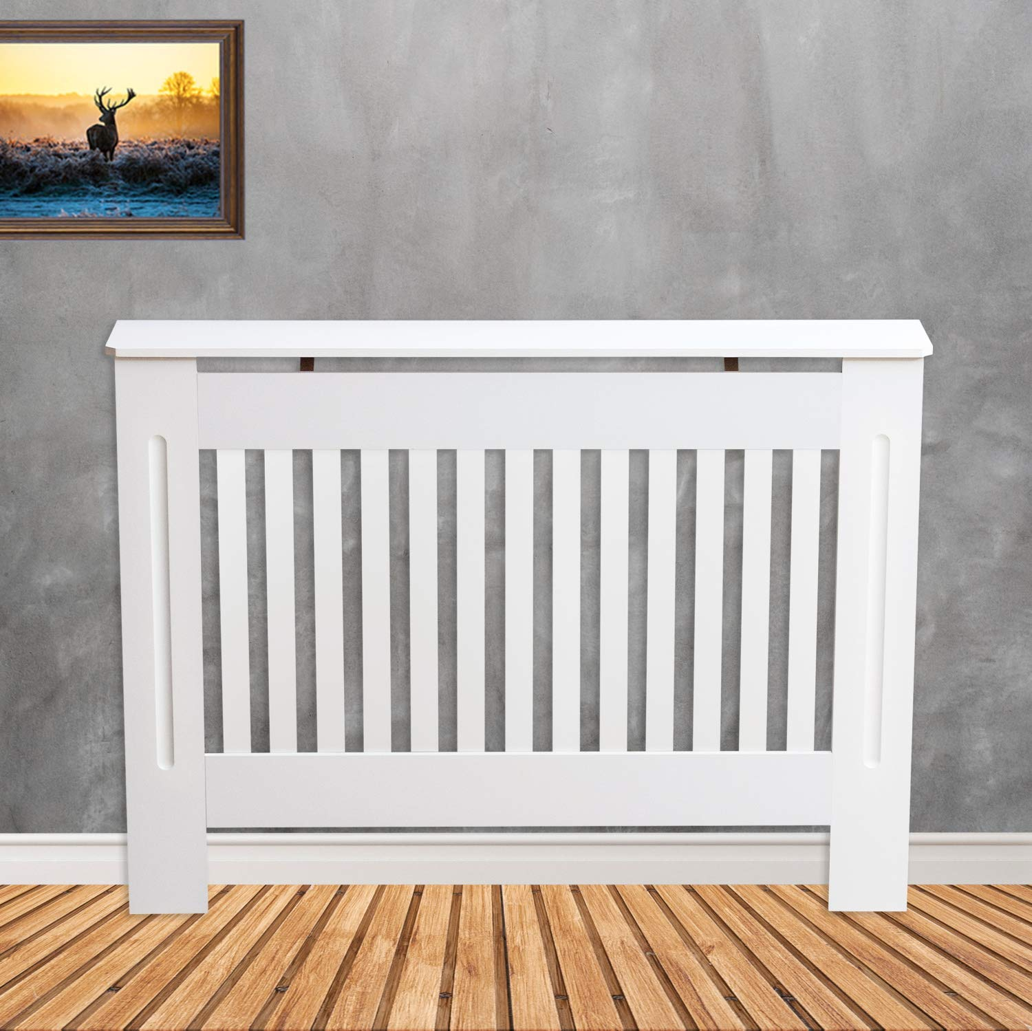 TANBURO Traditional Matte Painted Radiator Cover Cabinet Vertical Slatted White E1 MDF Medium 112 x 19 x 81.5cm