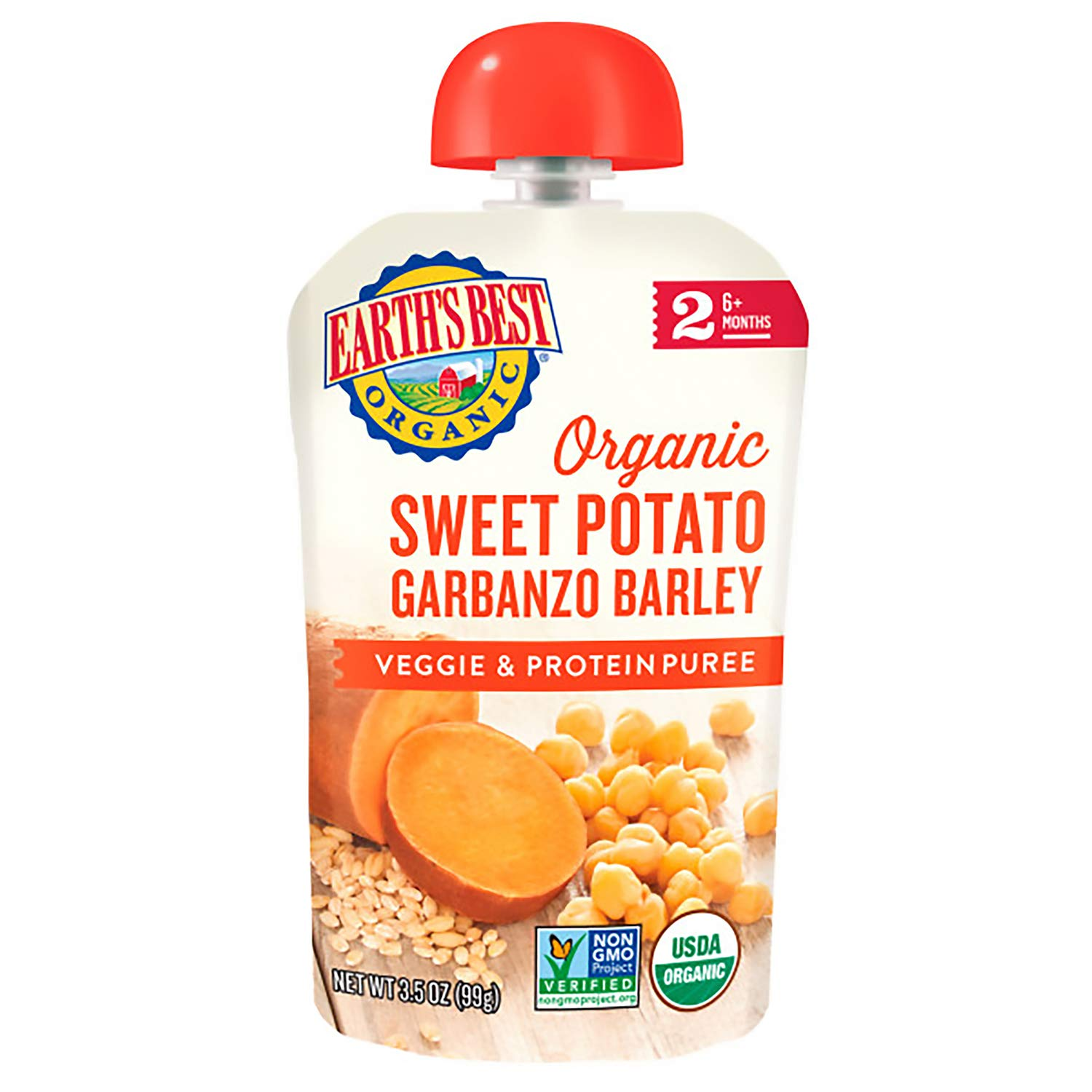 Earth's Best Organic Stage 2 Baby Food, Sweet Potato Garbanzo Barley, 3.5 Oz Pouch (Pack of 12)