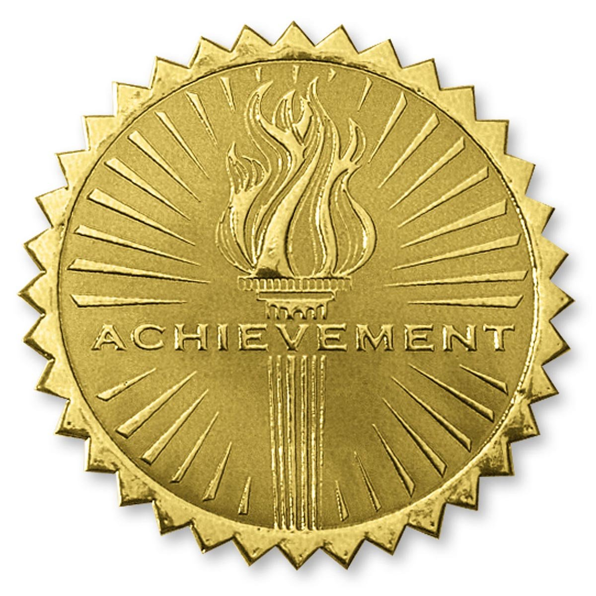 Deluxe Embossed Achievement Torch Gold Foil Certificate Seals, 2 Inch, Self Adhesive, 102 Count