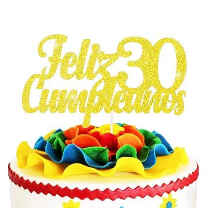 Awesome Feliz Cumpleanos 30Th Birthday Cake Topper Gold Glitter Spanish Funny Birthday Cards Online Kookostrdamsfinfo