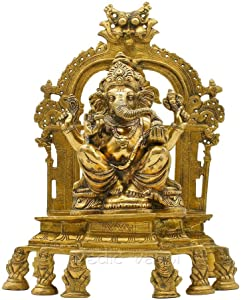 Vedic Vaani Lord Chintamani Ganesha/Ganpati Gajanana Statue, Idol On Singhasan in Fine Brass Finishing for Ganesh Chaturthi Puja, Festival, Temple, Home, Office