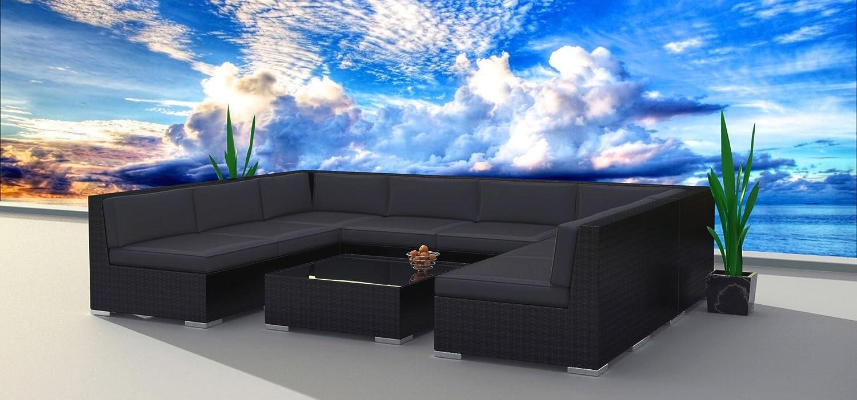 Urban Furnishing.net – Black Series 9b Modern Outdoor Backyard Wicker Rattan Patio Furniture Sofa Sectional Couch Set