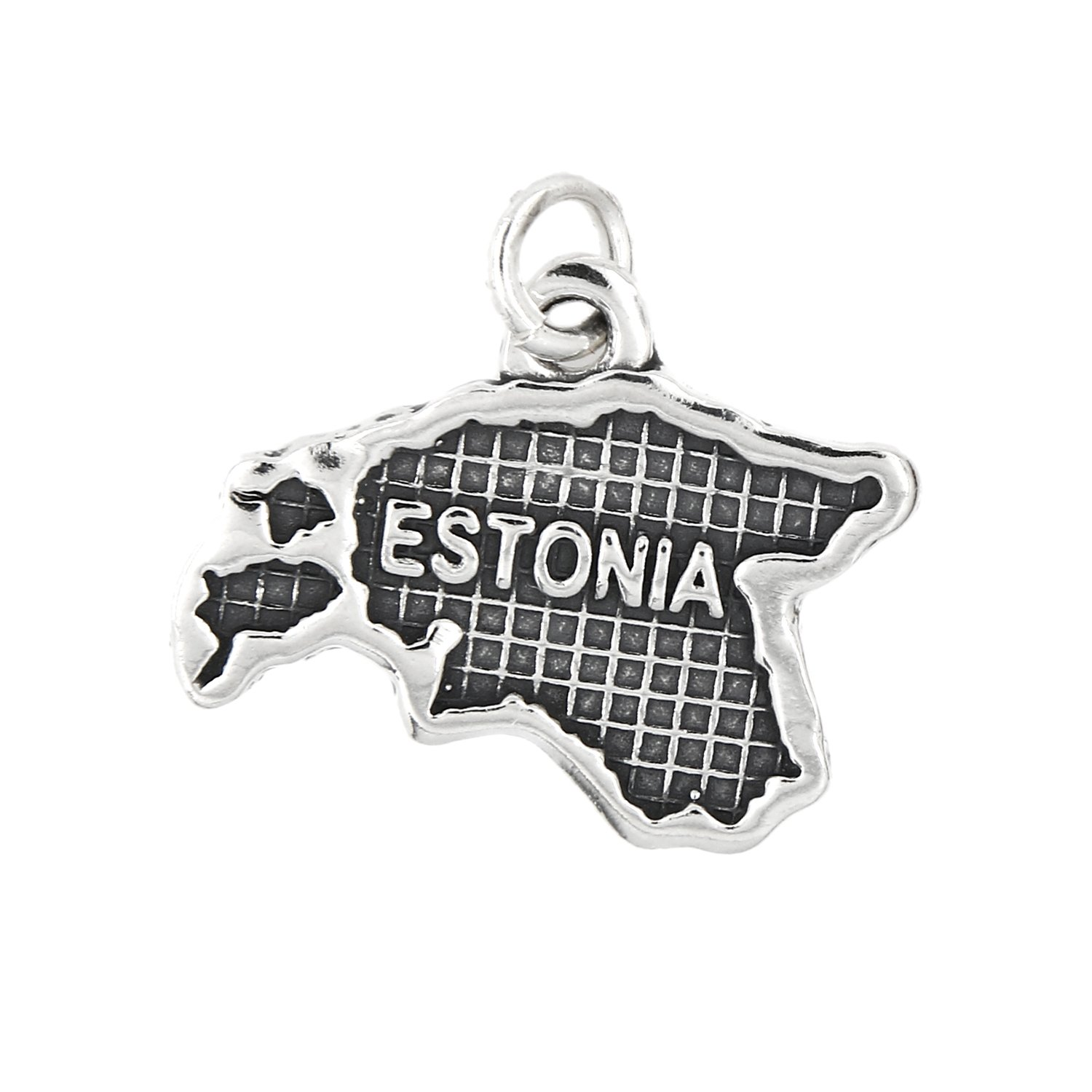 Sterling Silver Oxidized Map of Estonia Travel Charm