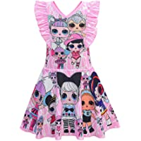 Rohero Little Girls Summer Casual Dress Sleeveless Pageant Party Birthday Dress for Doll Surprised