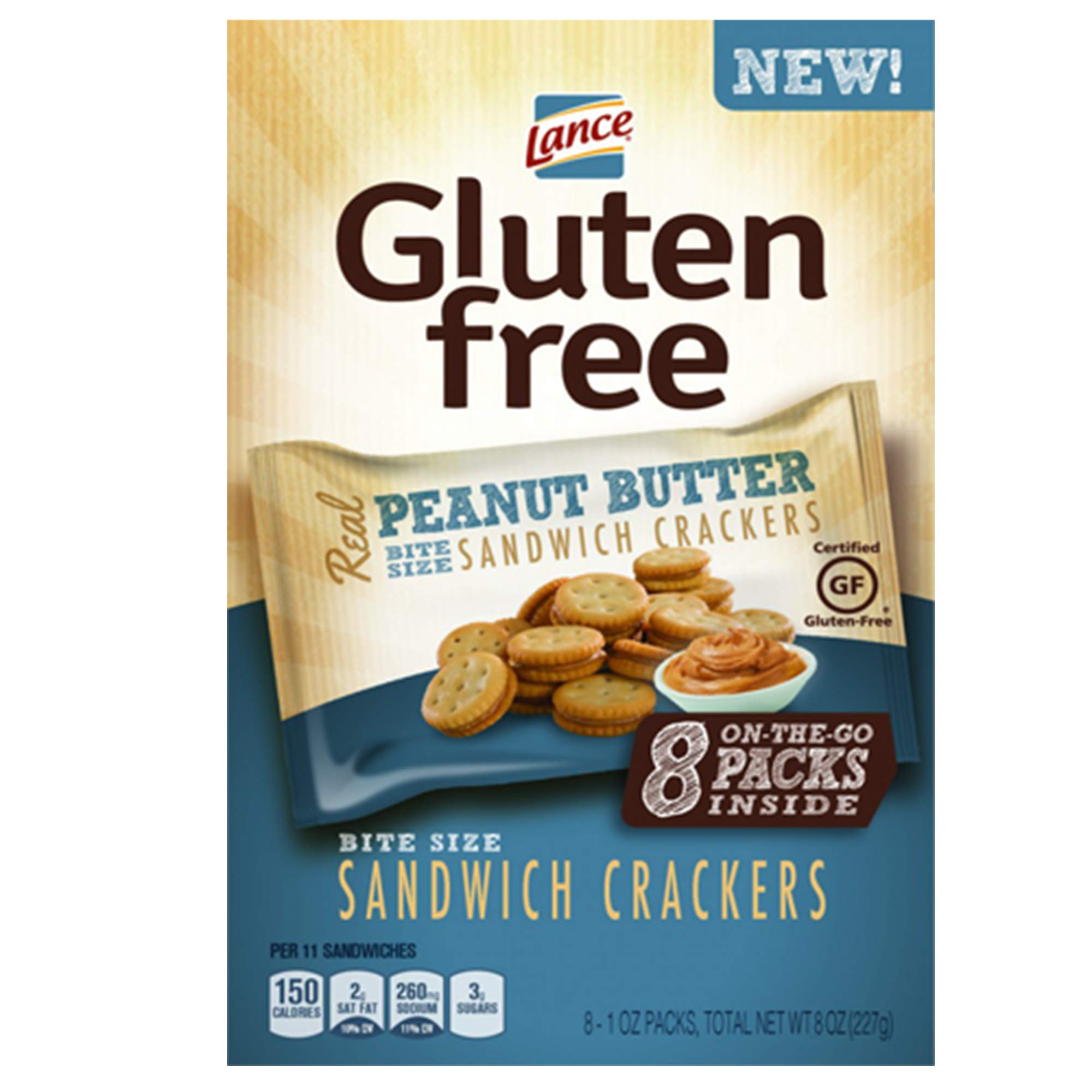 Lance Gluten Free Peanut Butter Sandwich Crackers, 8 Count of 1 Oz. Bags by Lance