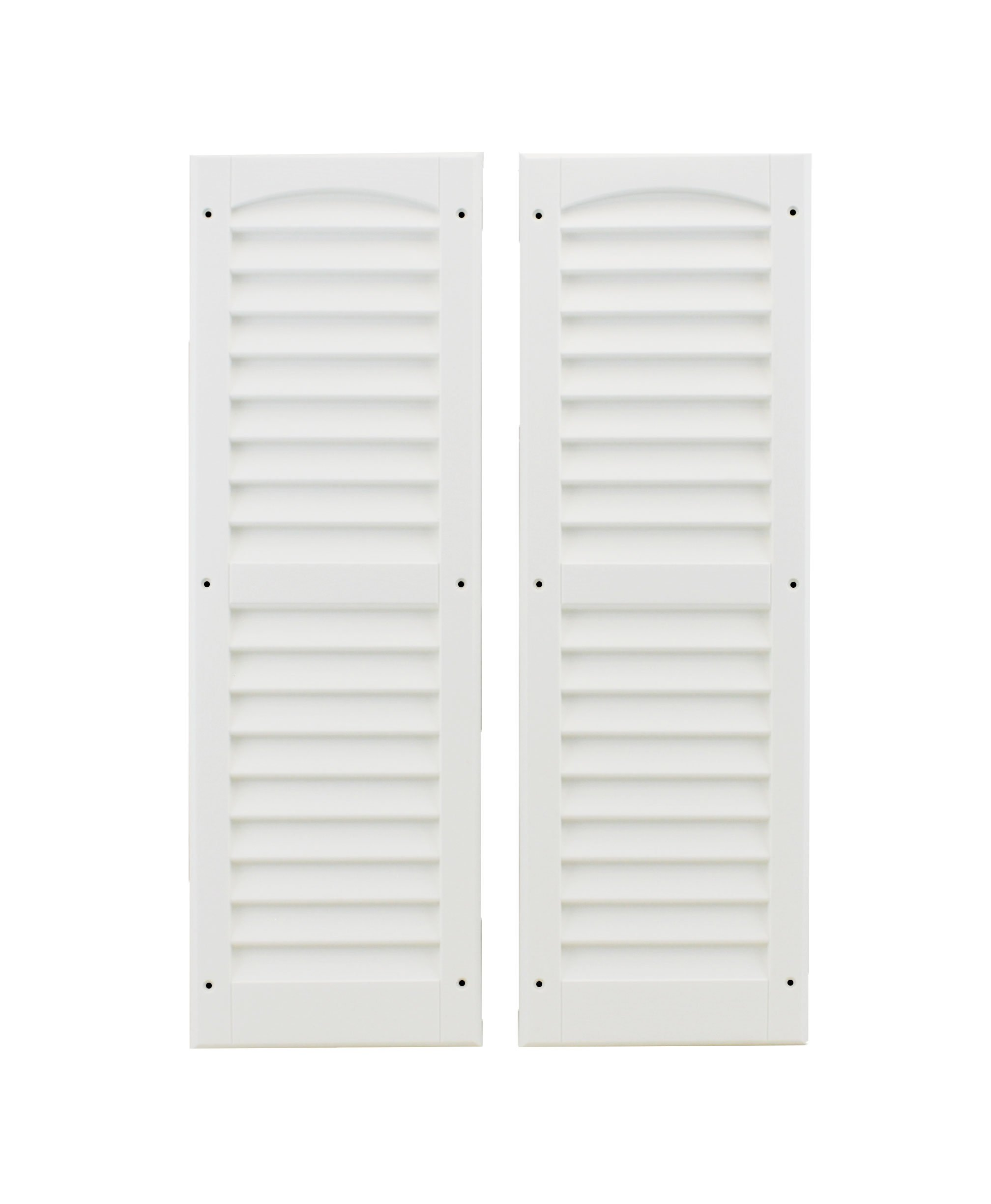 Louvered Shed Shutter or Playhouse Shutter White 9'' X 27'' Sold By the Pair