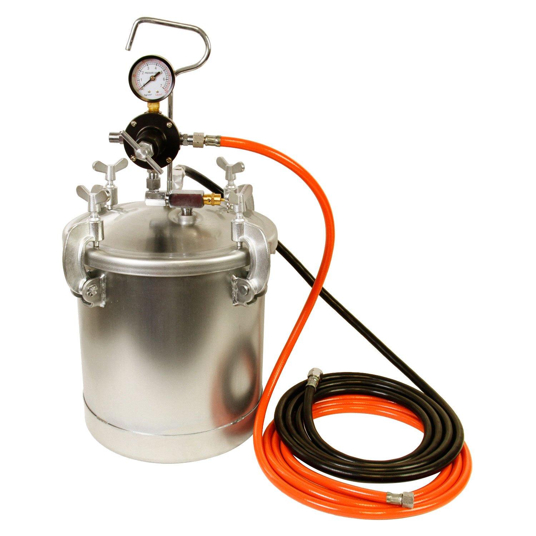 TCP Global Pressure Tank Paint Spray Gun with 1.5 Mm Nozzle 2-1/2 Gal. Pressure Pot & Spray Gun with Hoses by TCP Global (Image #2)