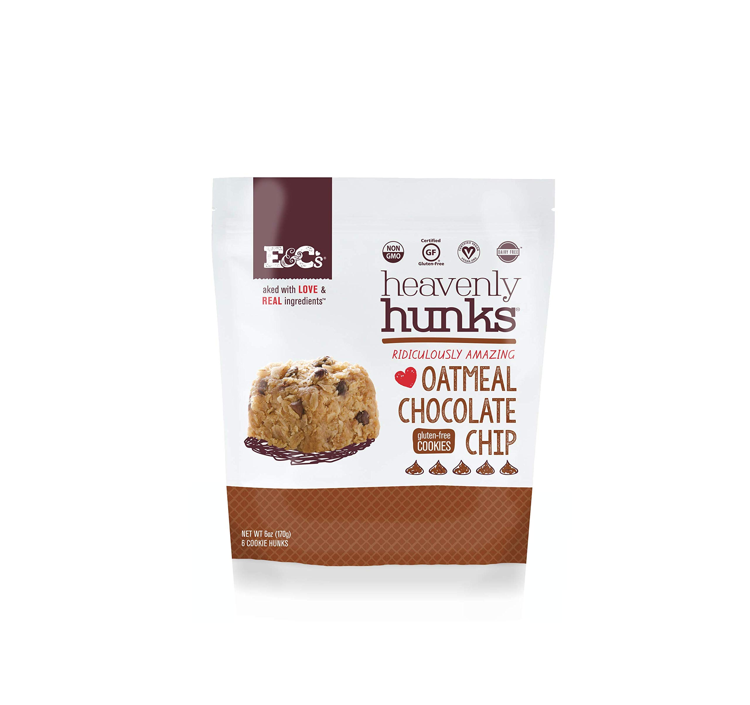 Heavenly Hunks (Oatmeal Chocolate Chip, 1 case (6/6oz bags)) by E&C's Snacks