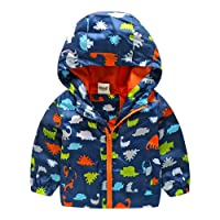 De feuilles Kids Baby Boys Hooded Windbreaker Coat Windproof Soft Shell Jacket Outwear