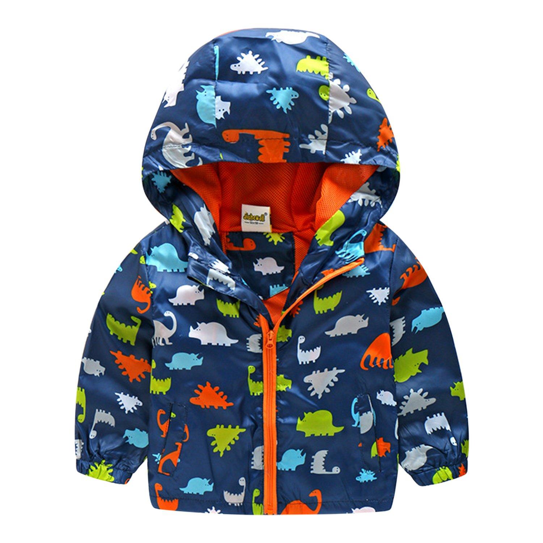 Baby Boys Winter Warm Outwear Zipper Hooded Dinosaur Printed Jacket Coat Parka Evelin LEE FAL0621