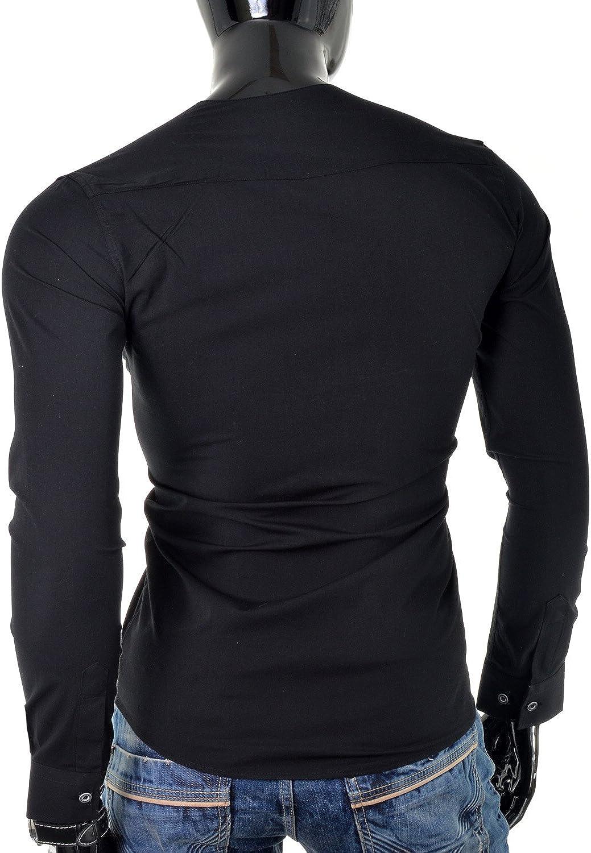 Shirt D /& R Fashion Caratteristico delluomo con Fissaggio Loop e Girocollo Vari Colori