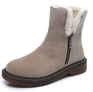 wealsex Boots Suédine Fourrées Plate Motardes Fermeture Eclair Boots Classique Mode Bottes de Neige Cheville Chaudes Grande Taille 40 41 42 43 Femme(Noir,43)