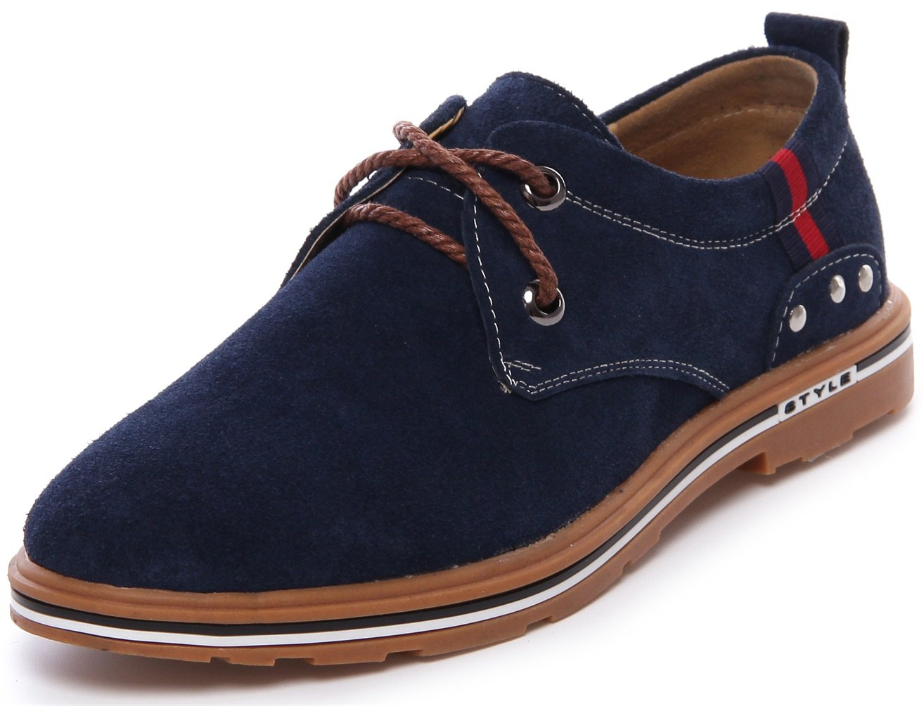 PPXID Men's Suede Leather Lace up Casual Oxford Shoes-Blue 6 US Size