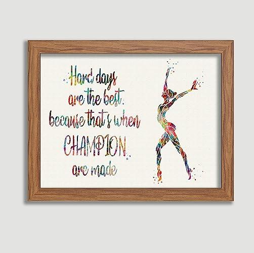 Amazon Gymnastics Quote Watercolor Posters Art Prints Sports