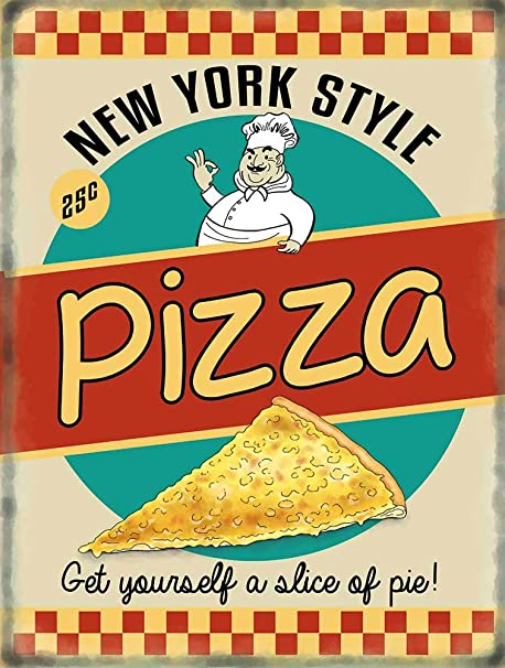 Pizza retro Diner style Cartel de Chapa Placa metal Estable ...