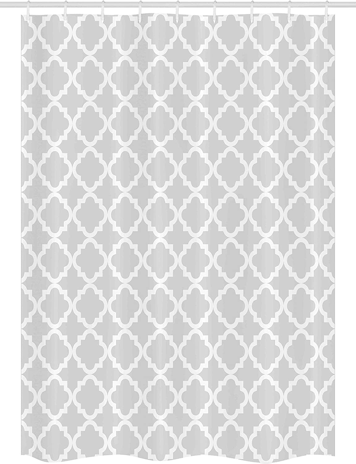 Antique Pattern Geometry Curves Ogee Minimalistic Design Illustration Ambesonne Quatrefoil Stall Shower Curtain 36 W x 72 L inches Fabric Bathroom Decor Set with Hooks Light Grey White